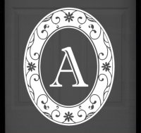 White Monogram Etched Glass Window Decal