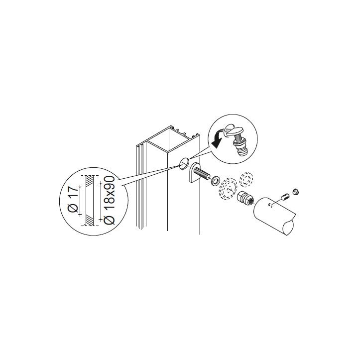 Not Through Fixing Kit for Single Pull Handle pba