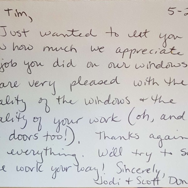 Window Replacements Unlimited Testimonial