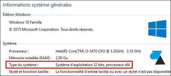 tutoriel Windows 10 processeur CPU 32 64 bits