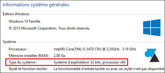tutoriel Windows 10 processeur CPU 32 64 bits