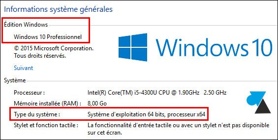 tutoriel Windows 10 Professionnel Pro informations syteme CPU RAM