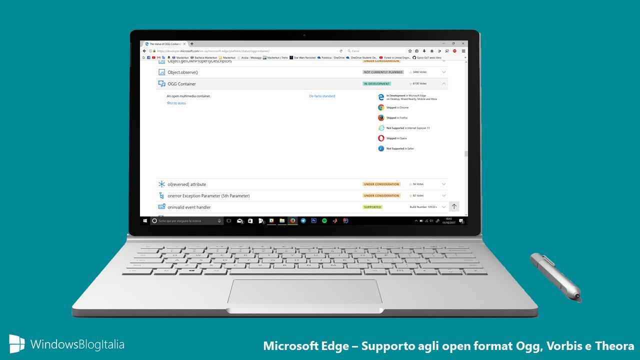 Microsoft Edge open format ogg vorbis theora