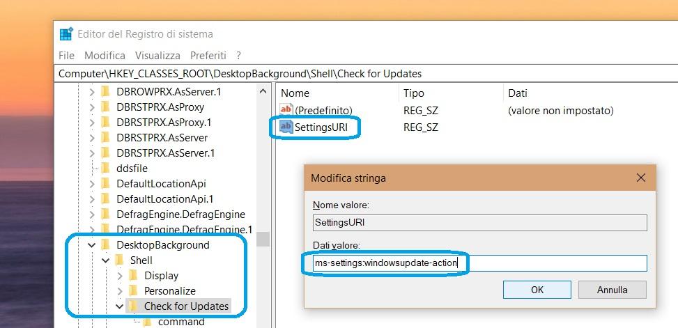 Editor registro di sistema Windows Update menu contestuale 3