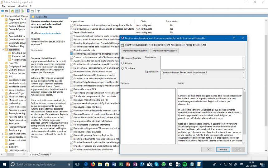 editor file explorer criteri di gruppo