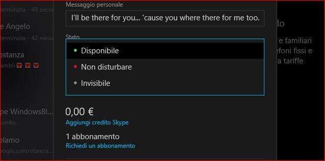 Skype Windows 10 controllo presenza