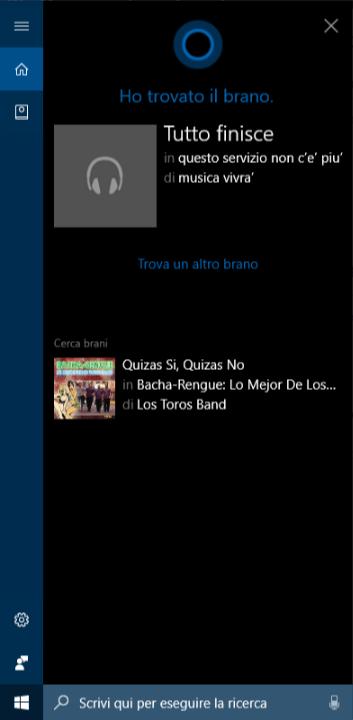 Cortana non riconosce più le canzoni