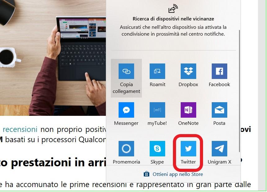 Twitter PWA menu Condividi Windows 10