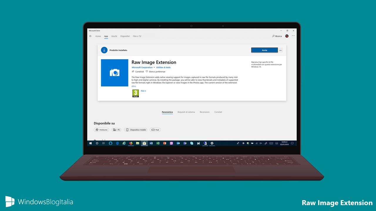 Download estensione ufficiale per i file Raw dal Microsoft Store per PC e tablet Windows 10