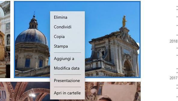 Fluent Designを使用したMicrosoft Photoのコンテキストメニュー