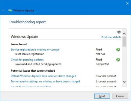 troubleshooting report windows10