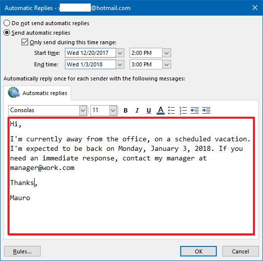 How To Set Up Automatic Outlook Out Of Office Replies Windows Central