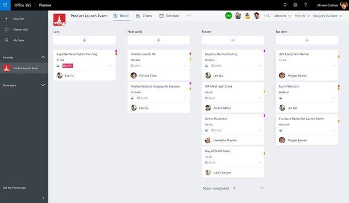 Microsoft Planner recoge nueva vista de programación, opciones de filtro y más