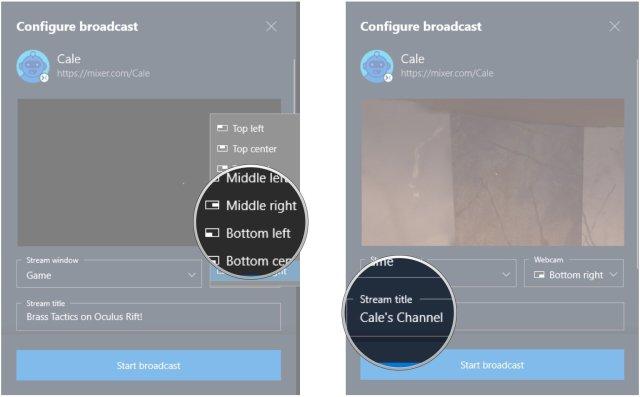 Click a webcam position. Click the Stream title field.