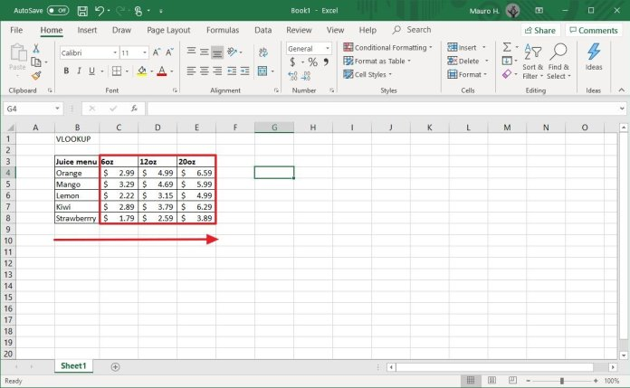 Excel table information for VLOOKUP