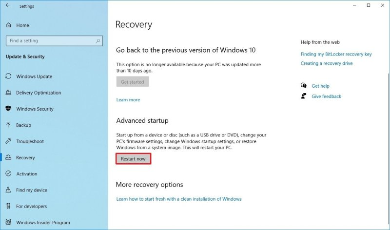 Windows 10 Recovery Settings Advanced Startup