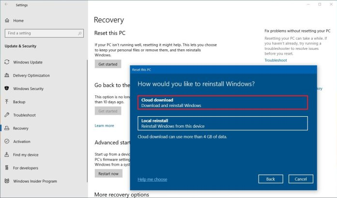 Windows 10 Reset this PC with Cloud download option