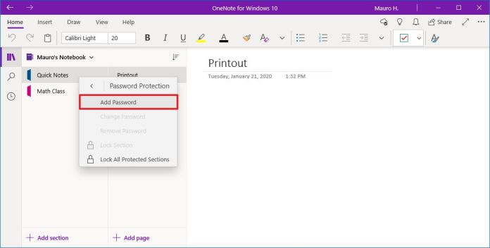 Onenote add password to section