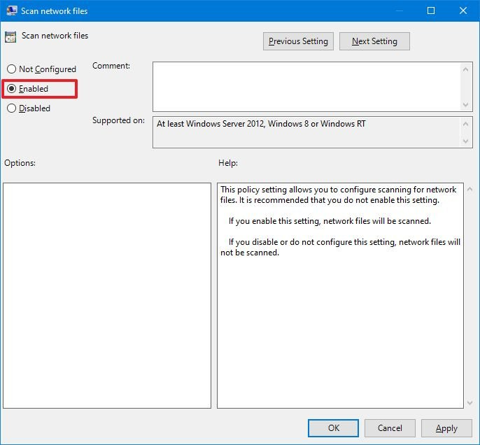 How to enable network file scanning with Microsoft ...