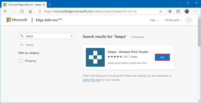 Microsoft Edge download Keepa extension