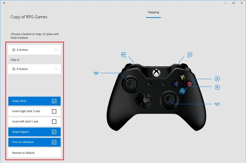 Remap Xbox One controller buttons on custom profile