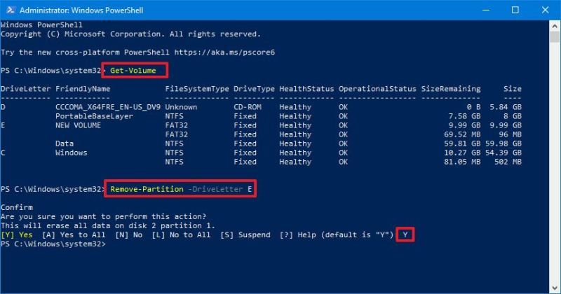 PowerShell remove partition