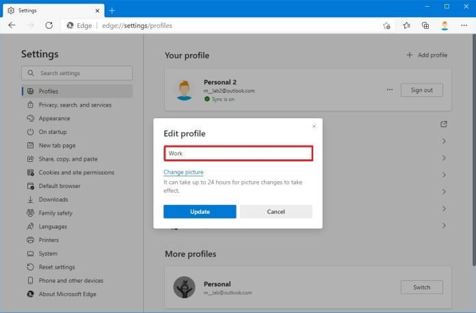 Microsoft Edge rename profile