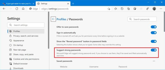 Microsoft Edge suggest strong passwords