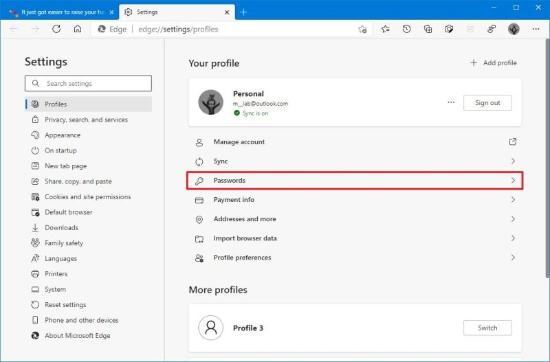 Microsoft Edge password settings
