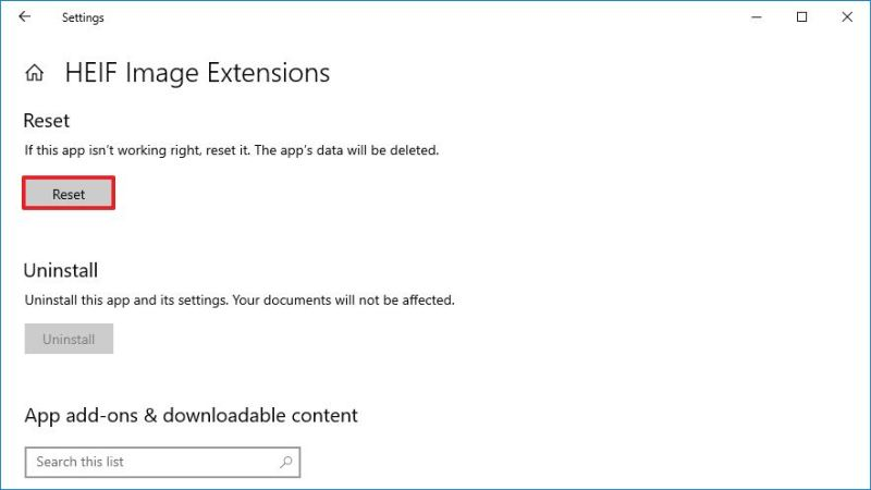 Reset HEIF to fix problems on Windows 10