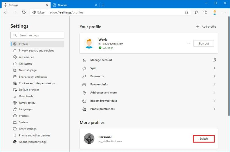 Microsoft Edge settings change profile