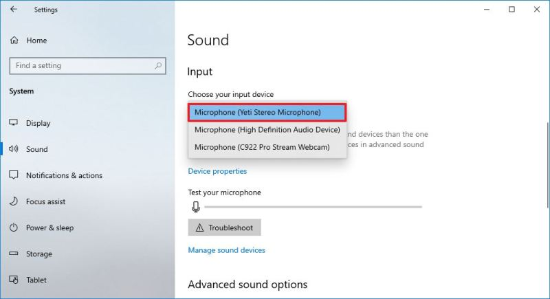 Choose default microphone on Windows 10