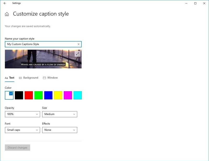 Customize Caption Style Settings