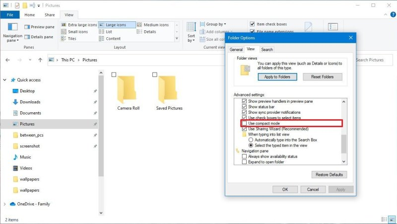 File Explorer compact mode new option