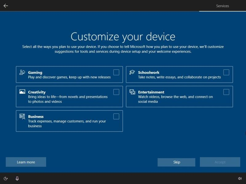 Windows 10 OOBE customize PC options