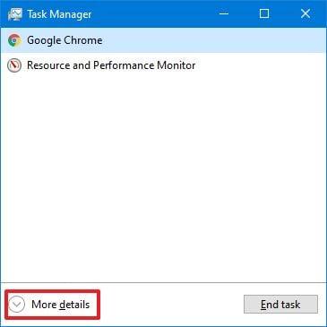 Task Manager more details option
