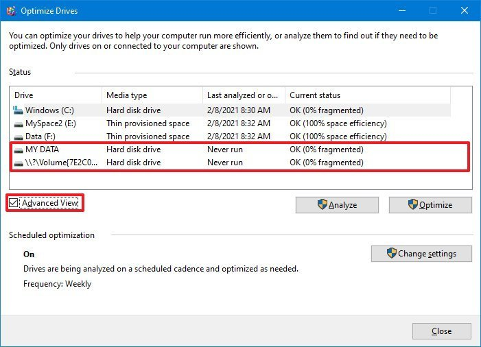 Windows 10 Optimize Drives advanced view option