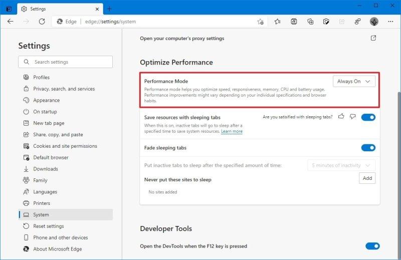 Microsoft Edge performance mode enabled