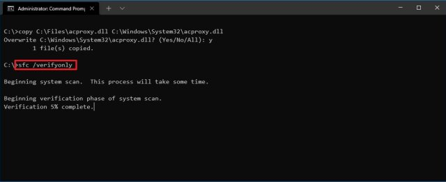 Windows 10 SFC verifyonly command
