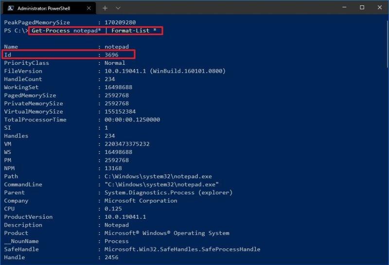 Get-Process app format-list command