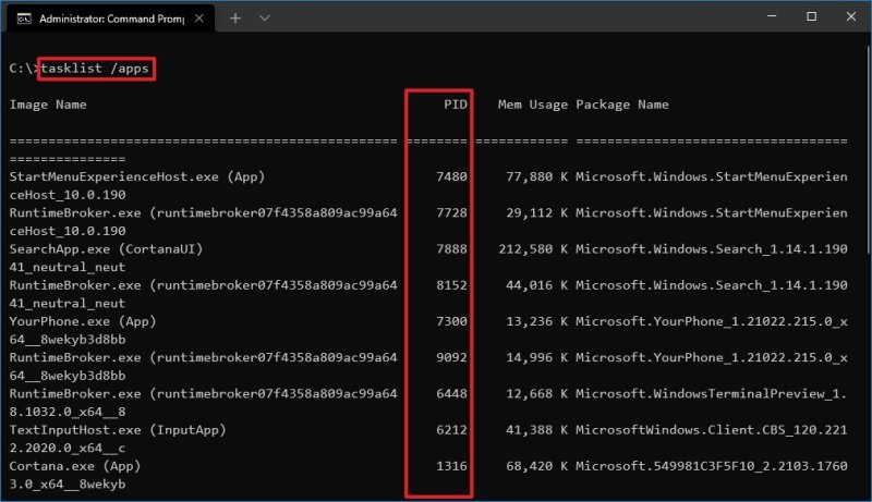 Command Prompt Task List Applications