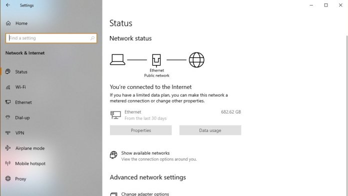Windows 10 Settings Network