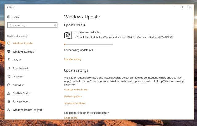 Windows 10 cumulative update build 15063.250 now rolling out to Creators Update PCs