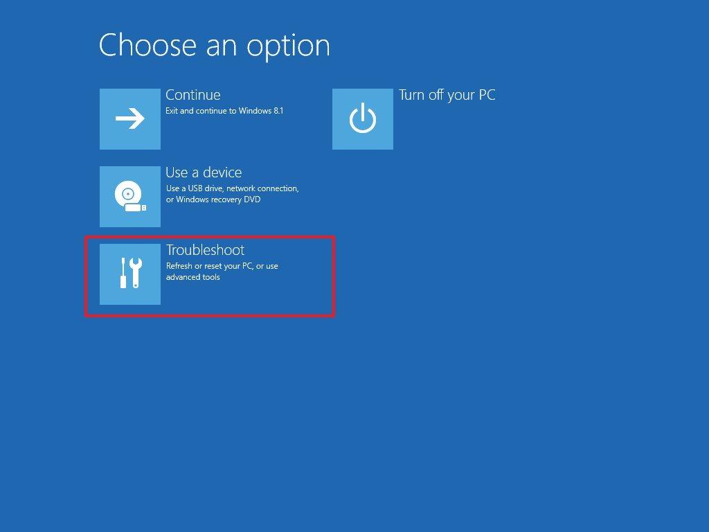 Troubleshoot settings Windows 8
