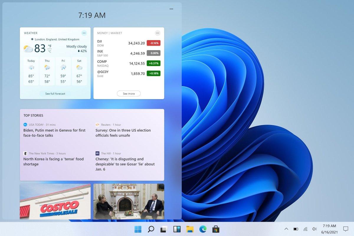Windows 11 default widget interface