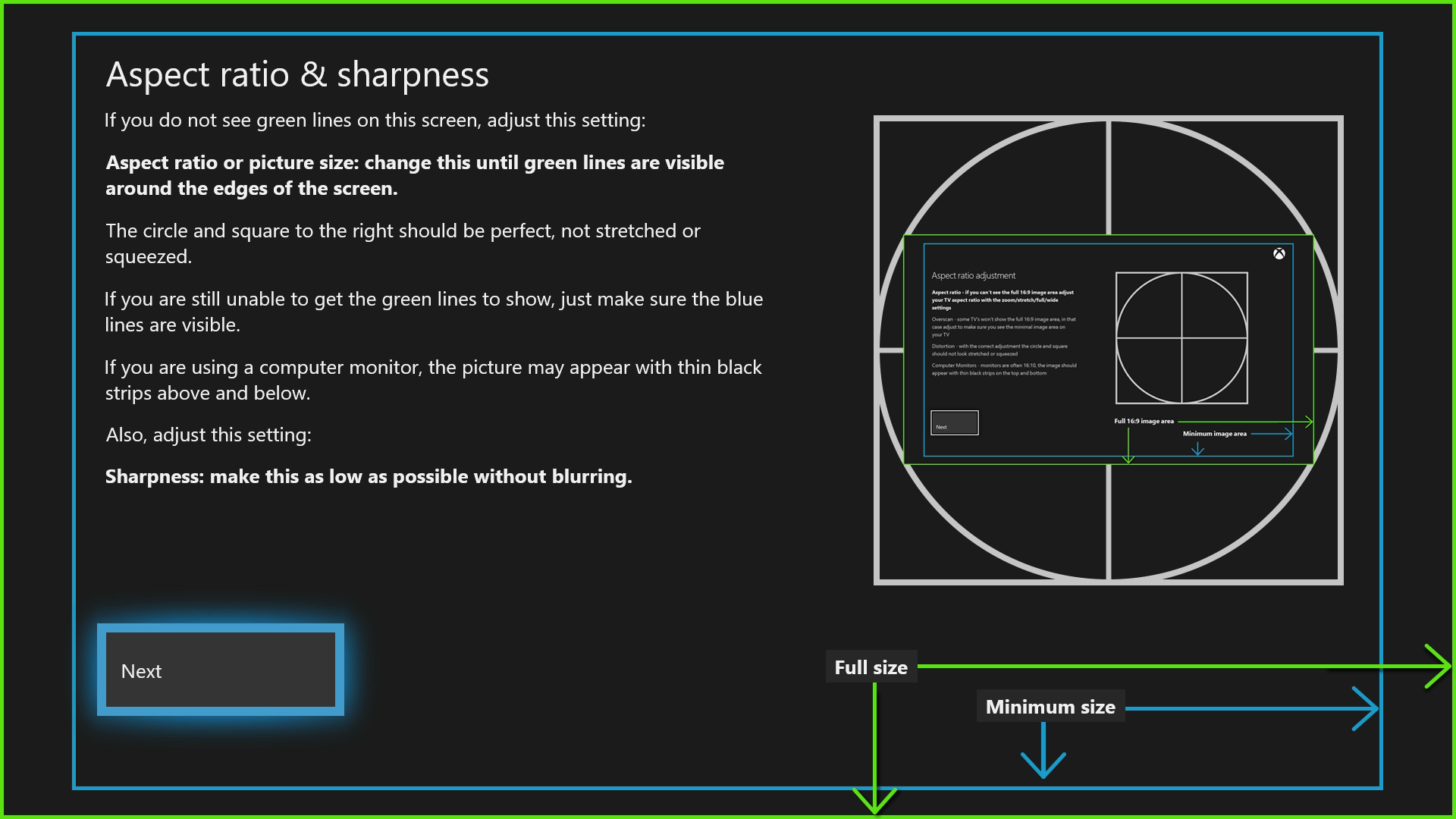 after configuring the video settings for your xbox one you ll want to find a reliable way to test if they re for you a calibration tool hidden away within  [ 1600 x 900 Pixel ]