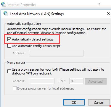 Windows Internet Properties LAN Setting