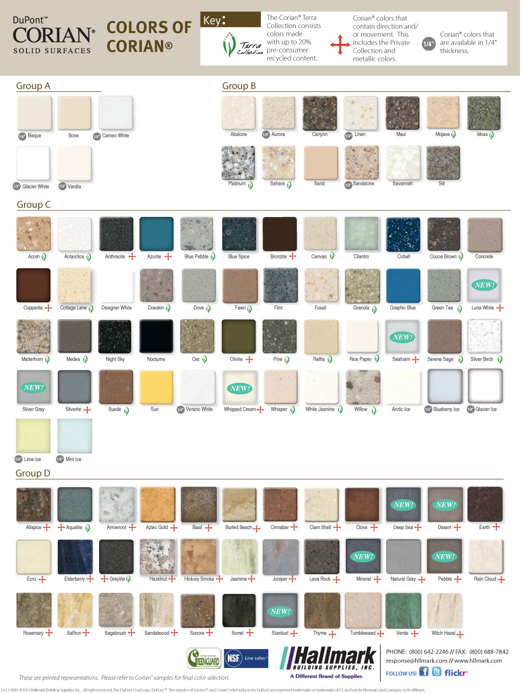 Color chart for custom orders corian window sills direct