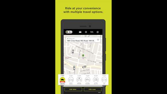 Ola Cabs App Windows App
