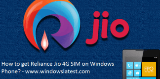 Reliance Jio 4G SIM on Windows Phone